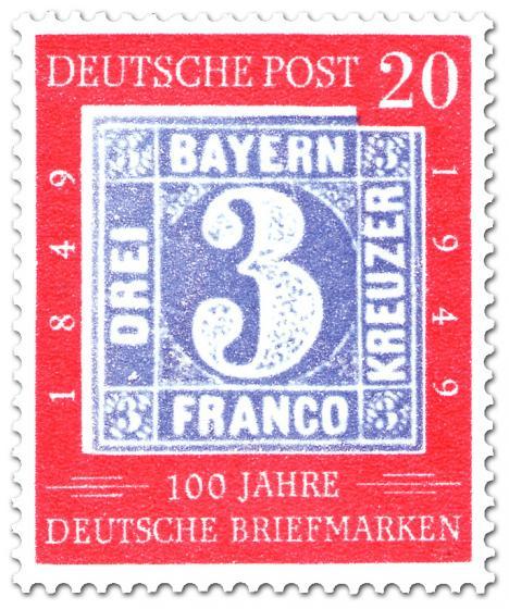 Stamp: 100 Jahre deutsche Briefmarken (drei Kreuzer)