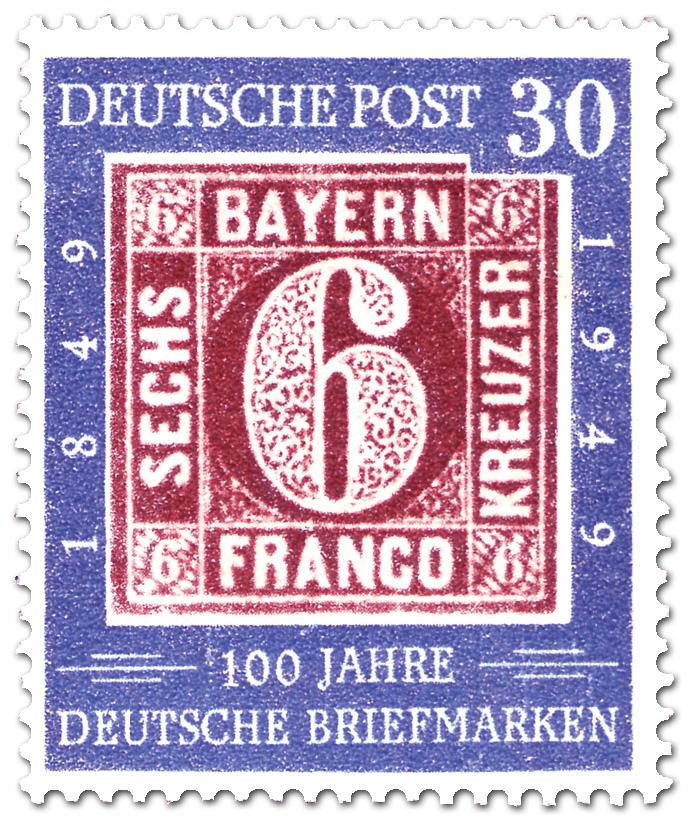 100 Jahre Deutsche Briefmarken Sechs Kreuzer German Stamp 1949