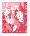Stamp: Wandernde, musizierende Mädchen (Bundesjugendplan)