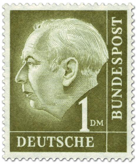 Stamp: Bundespräsident Theodor Heuss 1 DM
