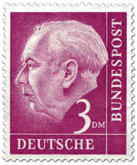 Stamp: Bundespräsident Theodor Heuss 3 Dm