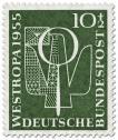 Stamp: Brieftaube und Lupe (Briefmarkenausstellung 1955)