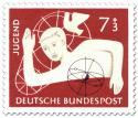 Stamp: Jugendmarke: Junge mit Atommodell und Taube