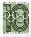 Stamp: Olympische Ringe und Stadion