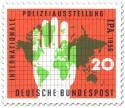 Stamp: Internationale Polizeiausstellung - Weltkarte und Hand
