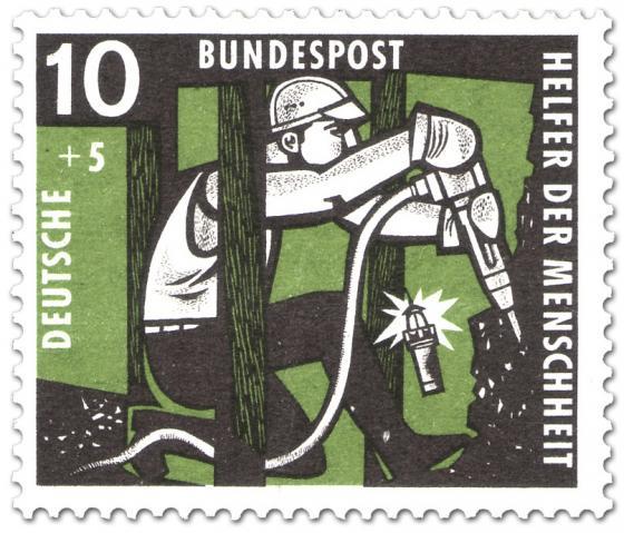 Stamp: Bergarbeiter im Schacht mit Abbauhammer