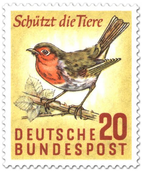 Stamp: Rotkehlchen - Schützt die Tiere!