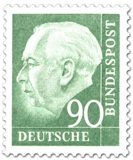 Stamp: Bundespräsident Theodor Heuss 90 (grün)