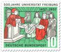 Stamp: 500 Jahre Universität Freiburg (Dozent mit Studenten)