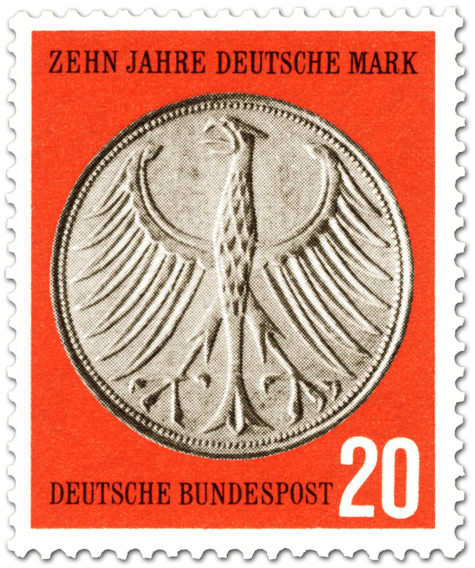 Bundesadler Geldmnze 5 D Mark German Stamp 1958