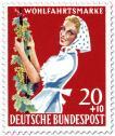 Stamp: Winzerin mit Weinrebe (Weinlese)