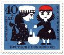 Stamp: Rotkäppchen gibt der Großmutter den Korb (mit Flasche)