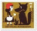 Stamp: Rotkäppchen mit dem Wolf (und Blume)