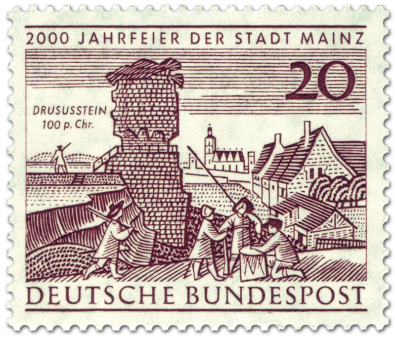 drususstein in mainz 2000 jahr feier german stamp 1962. Black Bedroom Furniture Sets. Home Design Ideas