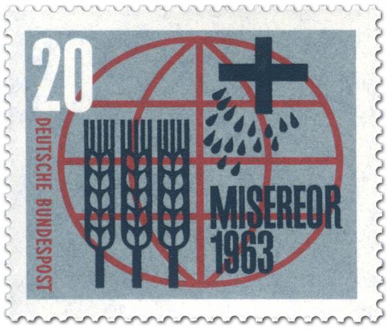 Stamp: Misereor (Ähren, Kreuz und Tropfen vor Weltkugel)