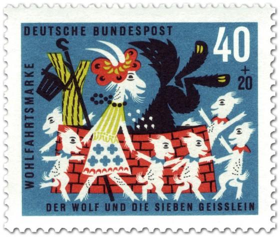 Stamp: Die sieben Geißlein tanzen um den Brunnen