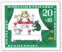 Stamp: Froschkönig beim Essen am Tisch mit Prinzessin