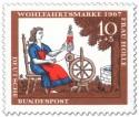 Stamp: Frau Holle: Tochter spinnt am Spinnrad