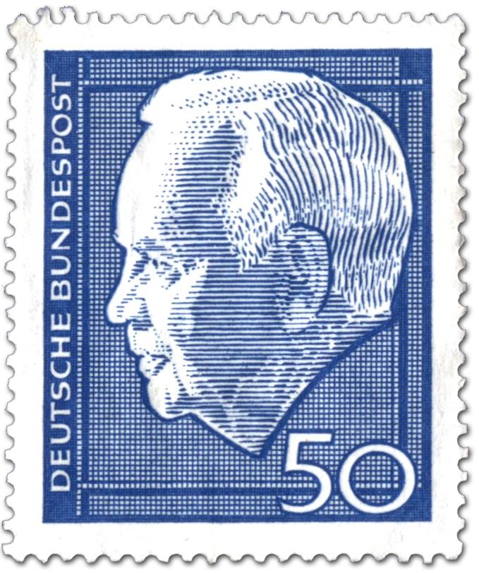 Stamp Heinrich Lubke Bundesprasident 50