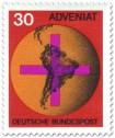 Stamp: Weltkugel mit Kreuz - Adveniat