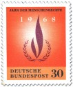 Stamp: Flamme und Lorbeerkranz (Jahr der Menschenrechte)