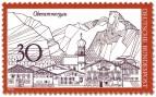 Stamp: Oberammergau (Stadtsilhouette und Berge)