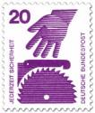 Stamp: Kreissäge und Hand (Gefahr)