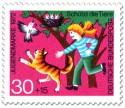Stamp: Mädchen schützt Vogelnest vor Katze