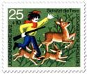 Stamp: Unruhe stiftender Junge im Wald vertreibt Rehe