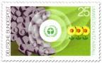 Stamp: Umweltschutz: Abfalltonnen auf grüner Wiese