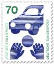 Stamp: Auto, Kinderhände und Ball