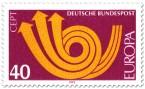 Stamp: Europamarke 1973 (Posthorn, rot)
