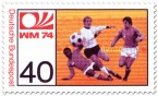 Stamp: Fussball: Stürmer schießt Ball (WM 1974)