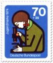 Stamp: Mädchen Mikroskop Jugend Forscht