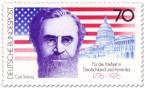 Stamp: Carl Schurz vor Sternenbanner und Capitol