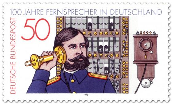 Stamp: Altes Telefon (Fernsprecher) und Vermittlungsbeamter