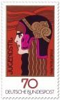 Stamp: Jugendstil Frauenkopf (die Athene)