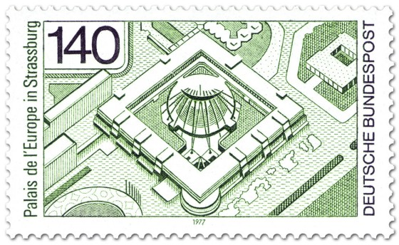 Stamp: Palais de l'Europe in Strassburg