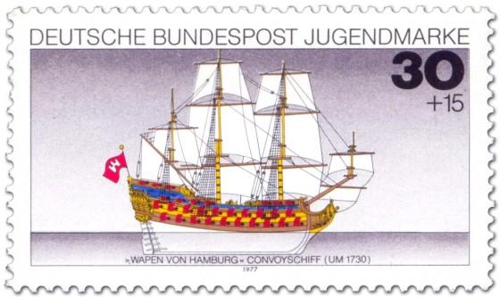 Stamp: Segelschiff Dreimaster Wappen von Hamburg
