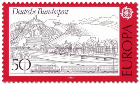 Stamp: Rheinlandschaft im Siebengebirge mit Eisenbahn