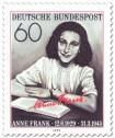 Stamp: Anne Frank mit Buch