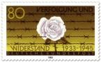 Stamp: Weiße Rose vor Stacheldraht