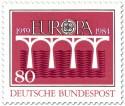 Stamp: Brücke Europamarke (Rot)