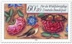 Stamp: Rosen, Vogel und Schmetterling