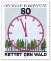 Stamp: Saurer Regen: Wald mit ablaufender Uhr