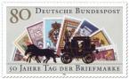 Stamp: Postkutsche vor Briefmarken (Tag der Briefmarke)