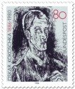 Stamp: Oskar Kokoschka Selbstportrait