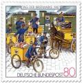 Stamp: Briefmarke mit Postboten mit Briefpost