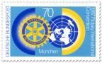 Stamp: Rotary-Club Logo und Weltkugel