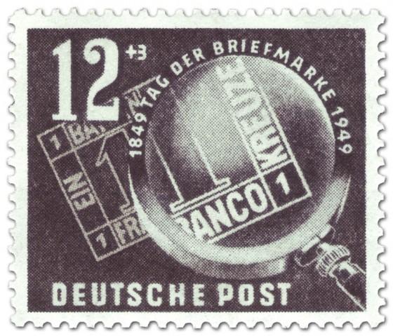 Stamp: Tag der Briefmarke: Bayern Einser unter Lupe